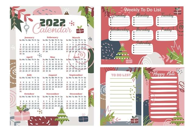 2022 druckbarer kalender, sonntagsstart, 12 monate. wöchentliche to-do-liste. zeitplanvorlage. glücklicher hinweis