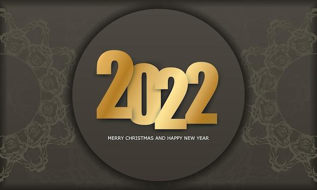 2022 frohes neues jahr brauner farbflyer mit vintage light ornament