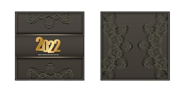 2022 frohes neues jahr broschüre in brauner farbe mit vintage-lichtornament