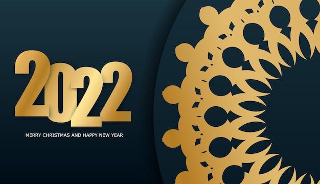 2022 frohes neues jahr broschüre vorlage dunkelblau mit abstraktem gold ornament