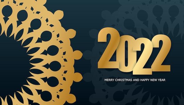 2022 frohes neues jahr broschüre vorlage dunkelblau mit abstraktem goldmuster