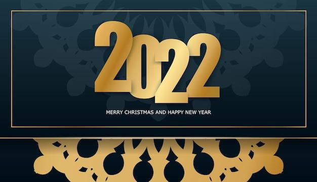 2022 frohes neues jahr broschüre vorlage dunkelblau mit vintage gold muster
