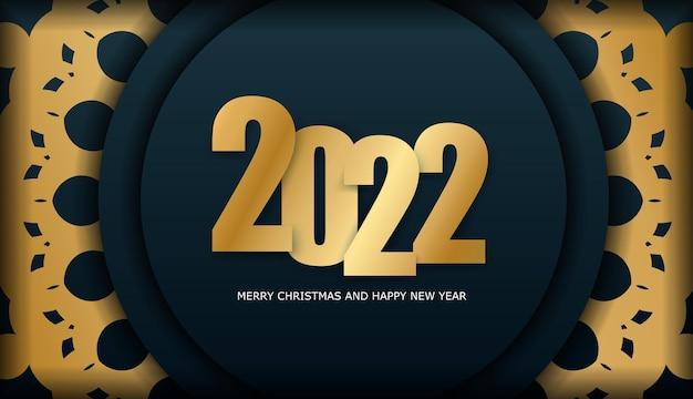 2022 frohes neues jahr broschüre vorlage dunkelblau mit vintage gold ornament