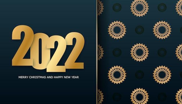 2022 frohes neues jahr broschüre vorlage dunkelblau mit winter gold ornament