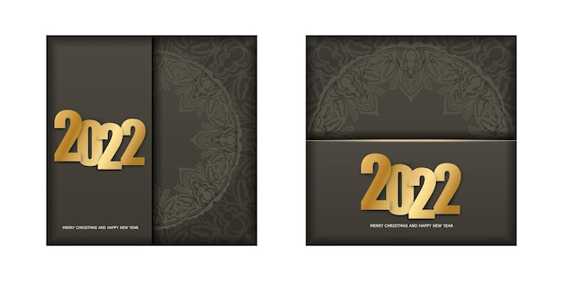 2022 frohes neues jahr flyer in brauner farbe mit winterlichtornament