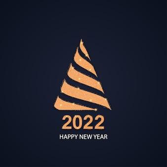 2022 frohes neues jahr goldene zahlen mit goldenem weihnachtsbaum vektor