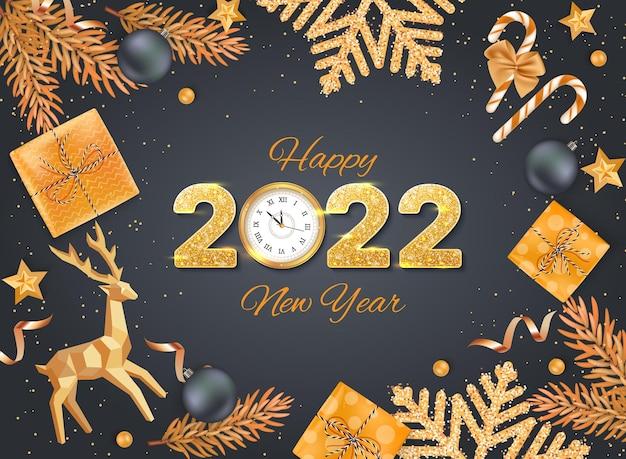 2022 frohes neues jahr goldene zahlen mit pailletten und wanduhr gruß hintergrund weihnachtskarte