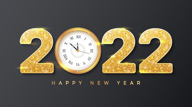 2022 frohes neues jahr goldene zahlen mit pailletten und wanduhr hintergrundbanner-flyer