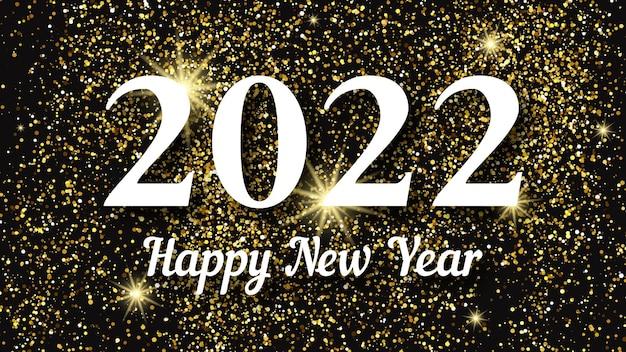 2022 frohes neues jahr goldener hintergrund. abstrakter hintergrund mit einer weißen aufschrift auf dunkelheit für weihnachtsgrußkarte, flyer oder poster. vektor-illustration