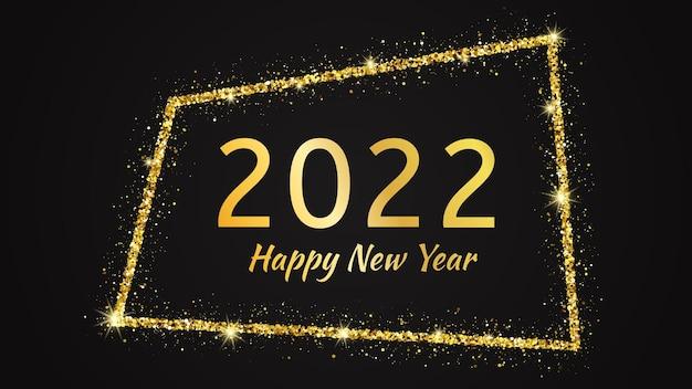 2022 frohes neues jahr hintergrund. goldene inschrift in einem goldenen glitzerrahmen für weihnachtsgrußkarten, flyer oder poster. vektor-illustration