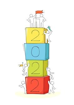 2022 frohes neues jahr hintergrund. handgezeichnete vektor-illustration.