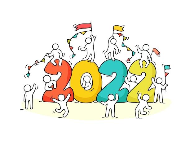 2022 frohes neues jahr hintergrund. karikaturvektor mit kleinen leuten bereiten sich zum feiern vor.