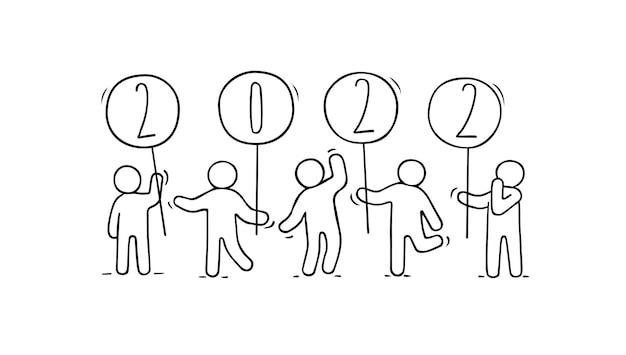 2022 frohes neues jahr-karte. cartoon-doodle-illustration mit kleinen leuten bereiten sich auf die feier vor.
