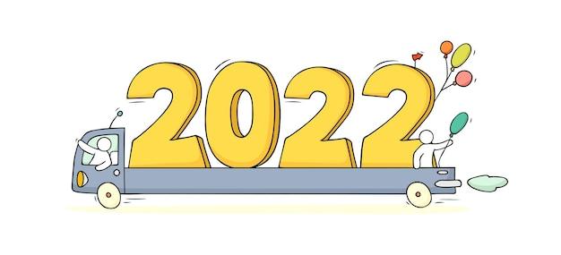 2022 frohes neues jahr-konzept mit autos. cartoon-doodle-illustration mit kleinen leuten bereiten sich auf die feier vor. handgezeichneter vektor für weihnachtsdesign.