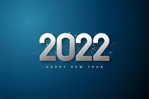 2022 frohes neues jahr mit glänzenden silbernen 3d-zahlen