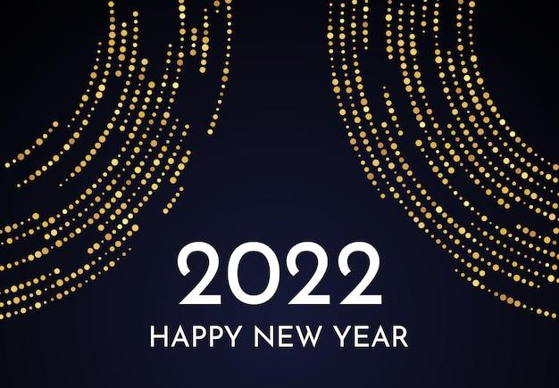 2022 frohes neues jahr mit goldenem glitzermuster in kreisform. abstrakter goldglühender punktierter halbtonhintergrund für weihnachtsfeiertagsgrußkarte auf dunklem hintergrund. vektor-illustration