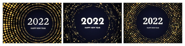 2022 frohes neues jahr mit goldenem glitzermuster in kreisform. satz von drei abstrakten goldglühenden punktierten halbtonhintergründen für weihnachtsfeiertagsgrußkarte auf dunklem hintergrund. vektor-illustration