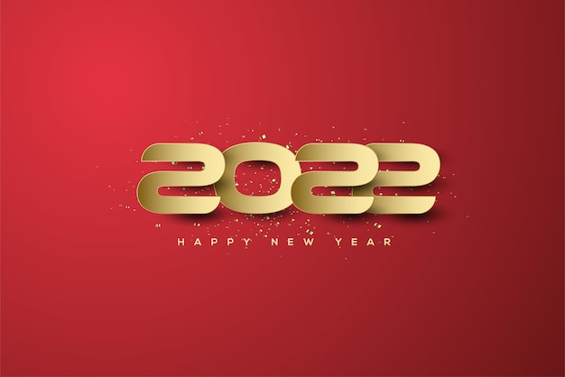2022 frohes neues jahr mit goldenen zahlen und schatten auf rotem hintergrund