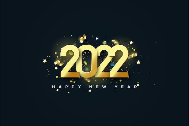 2022 frohes neues jahr mit überlappenden goldenen zahlen