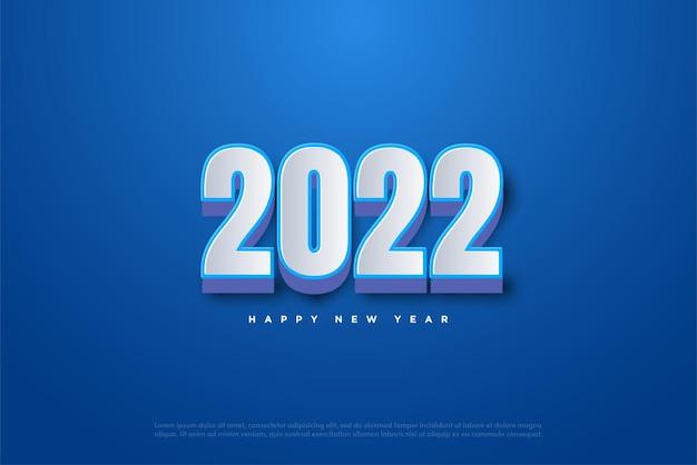 2022 frohes neues jahr mit weißen 3d zahlen