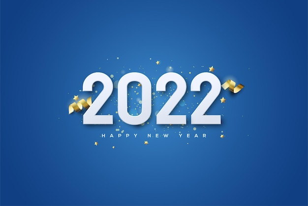 2022 frohes neues jahr mit weißen zahlen und geschnittenen goldbändern