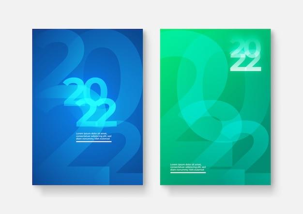 2022. frohes neues jahr. satz von vektorillustrationen. designvorlagen mit logo 2022. minimalistischer hintergrund für banner, cover, poster.