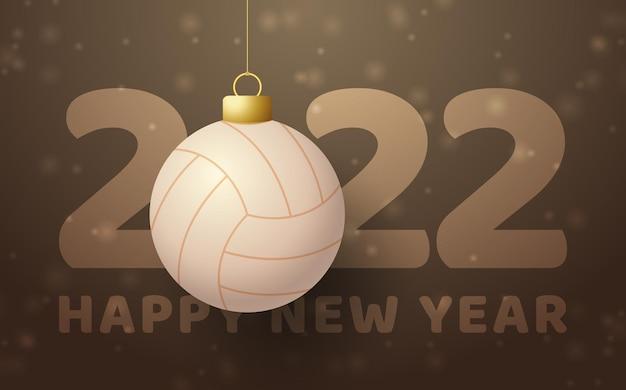 2022 frohes neues jahr. sportgrußkarte mit einem volleyballball auf dem braunen luxushintergrund. vektor-illustration.