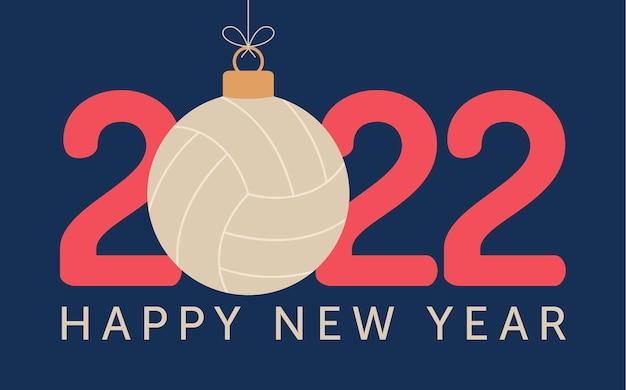 2022 frohes neues jahr volleyball-vektor-illustration. flache sport-grußkarte 2022 mit einem volleyballball auf dem farbhintergrund. vektor-illustration.