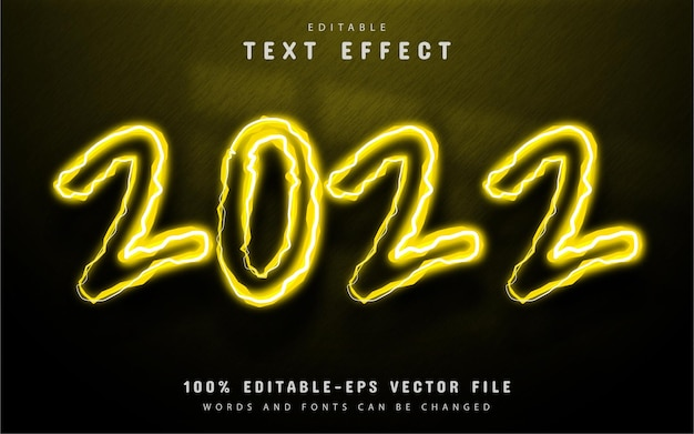 2022 gelber neon-texteffekt