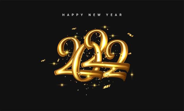 2022 goldener dekorationsfeiertag auf dunklem hintergrund