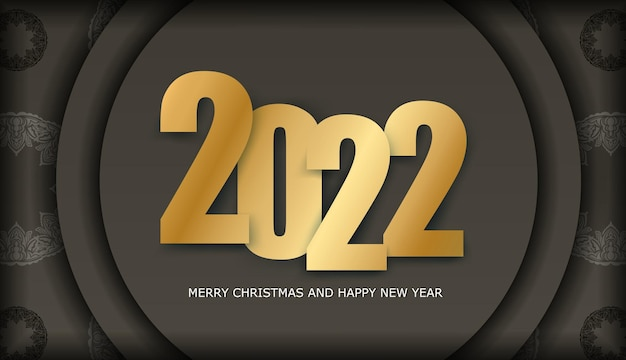 2022 happy new year flyer in brauner farbe mit luxuriösem lichtmuster