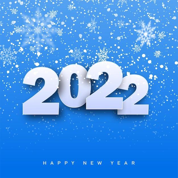 2022 happy new year-karte mit fallenden schneeflocken auf blauem hintergrund. vektor