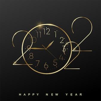 2022 happy new year-karte mit goldener uhr auf schwarzem hintergrund. vektor.
