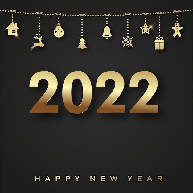 2022 happy new year-karte mit hängenden goldenen weihnachtsschmuck. vektor.