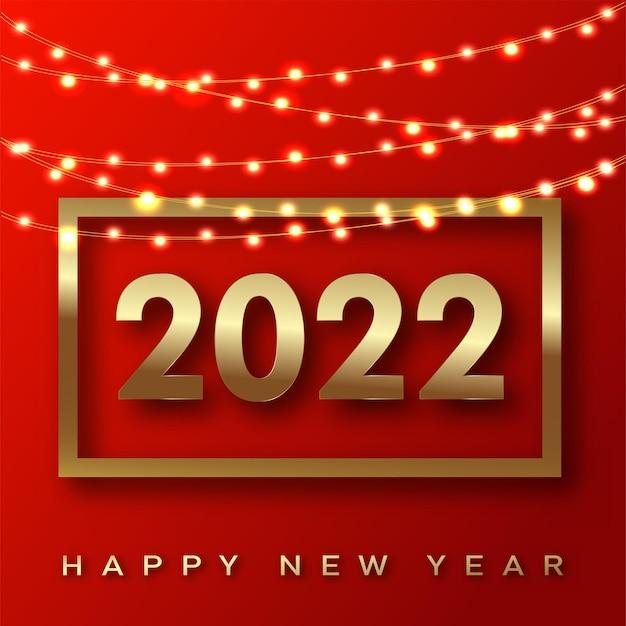 2022 happy new year-karte mit luxuriösem goldenem text und girlanden auf schwarzem hintergrund. vektor.