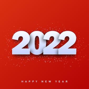 2022 happy new year-karte mit weißem 3d-text auf rotem hintergrund. vektor.