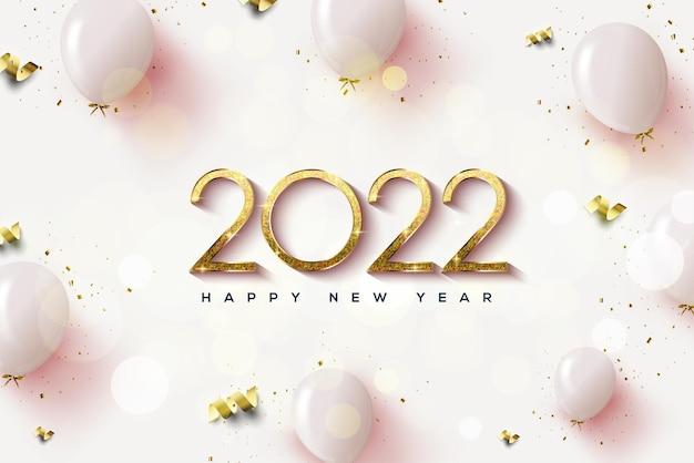 2022 hintergrund mit goldenen zahlen und 3d-ballons