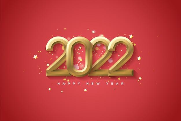 2022 hintergrund mit prominenten 3d-goldzahlen