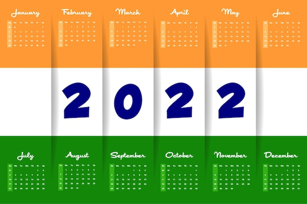 2022 indischer flaggen-design-stil landschaft minimaler wandkalender
