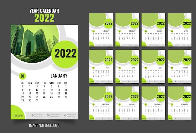 2022 jahr wand moderne bunte kalender jahresplaner designvorlage