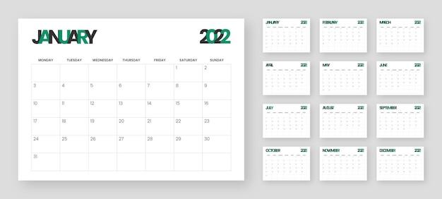 2022 kreative schreibtisch- oder wandkalendervorlage. woche beginnt am montag.