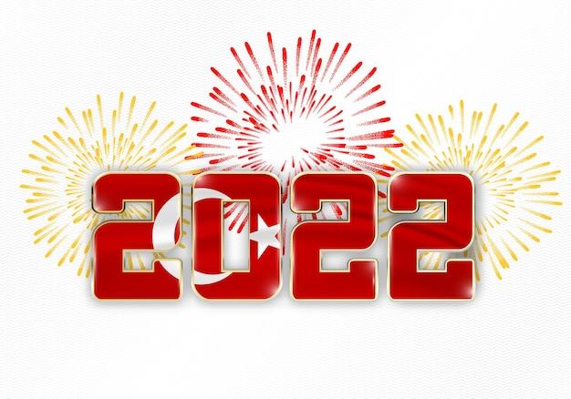 2022 neujahr hintergrund mit nationalflagge der türkei und feuerwerk