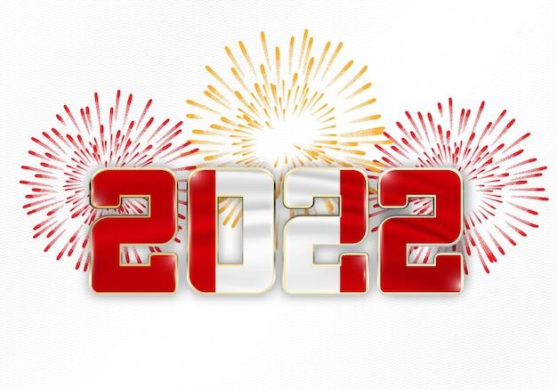 2022 neujahr hintergrund mit nationalflagge von peru und feuerwerk