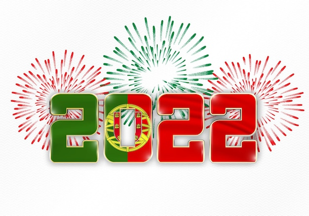 2022 neujahr hintergrund mit nationalflagge von portugal und feuerwerk