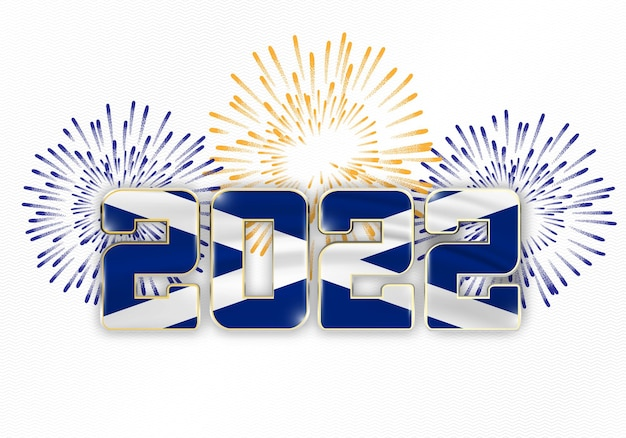2022 neujahr hintergrund mit nationalflagge von schottland und feuerwerk