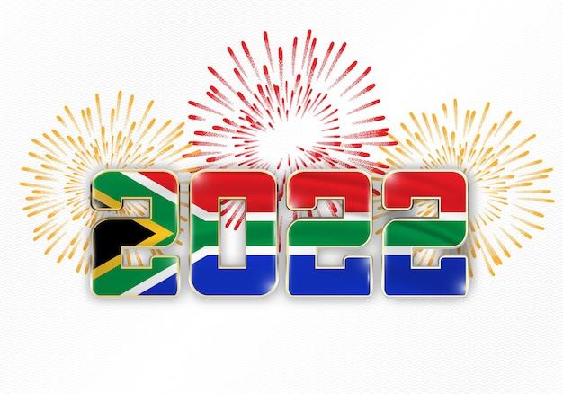2022 neujahr hintergrund mit nationalflagge von südafrika und feuerwerk