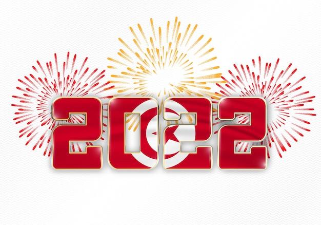 2022 neujahr hintergrund mit nationalflagge von tunesien und feuerwerk