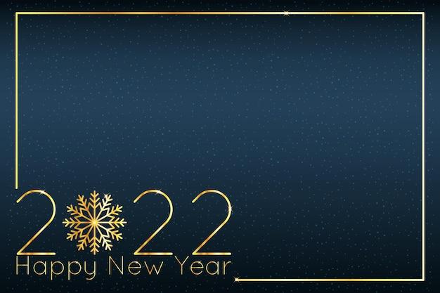 2022 neujahrs- und weihnachtshintergrund mit goldenen leuchtenden zahlen und schneeflocke. luxuriöse elegante vektorillustration.