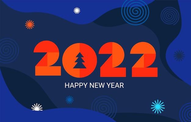 2022 neujahrsbanner mit geometrischen zahlen auf dunkelblauem, flüssigem hintergrund mit feuerwerk, platz für text. vorlage für grußkarten, einladungen, flyer, web. minimalistischer trendiger hintergrund für das cover