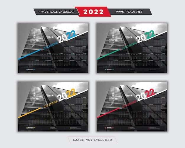 2022 poster-kalender-vorlage mit 4-farbvariationen-design